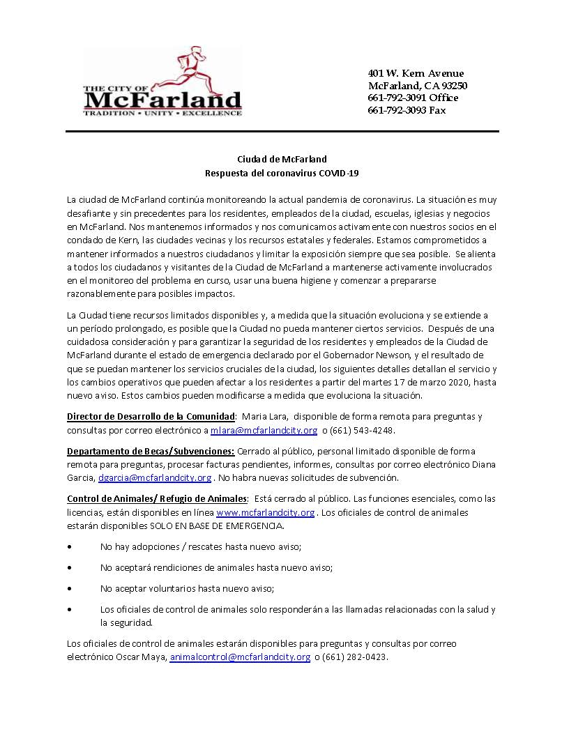 City of McFarland_CDD_COVID-19 Response_Spanish_Page_1